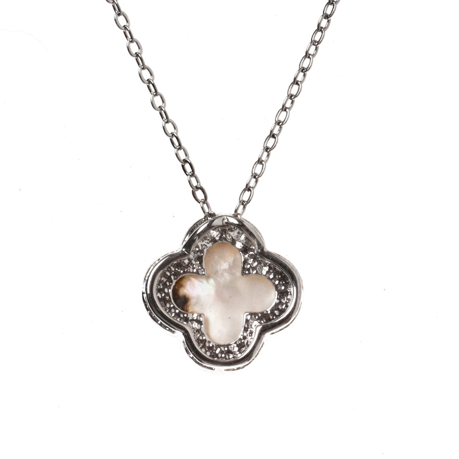 White Riverberry Rhodium Plated Clover Pendant Fashion Necklace