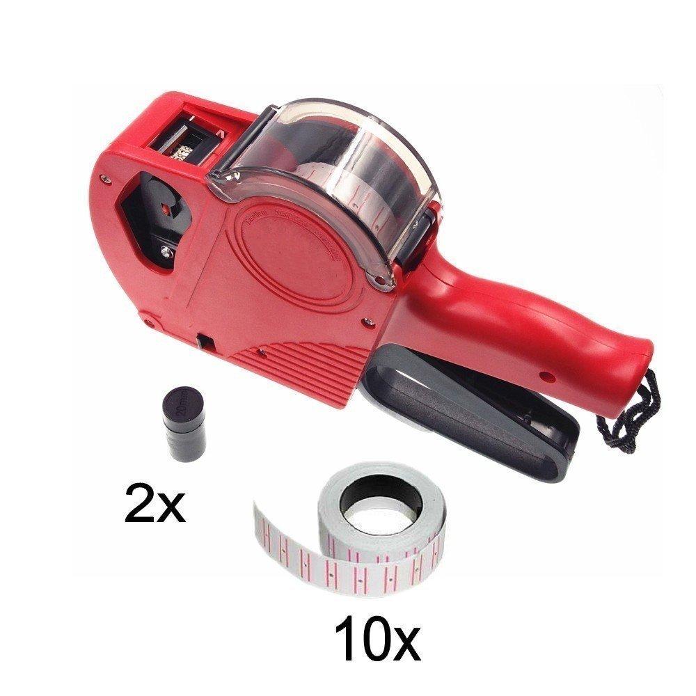 JZK® Etiquetadora pistola de precios 1 línea 8 caracteres precios al por menor kit de la pistola de etiquetas con 10 rollos de etiqueta y 2 cartuchos de tinta, rojo
