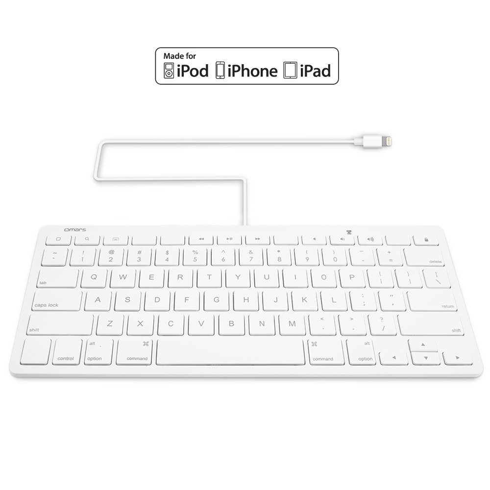 Wired Lightning Keyboard for iPad OMARS Multi-Media US Keyboard with Lightning Connector for iPhone iPad and iPod