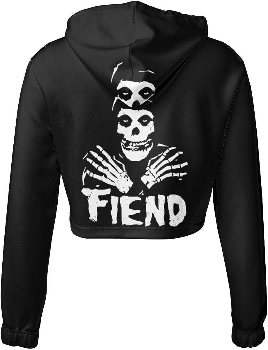Womens Misfits Fiend Logo Long Sleeve Sweatshirt Hooded Girls Crop Top Hoodies