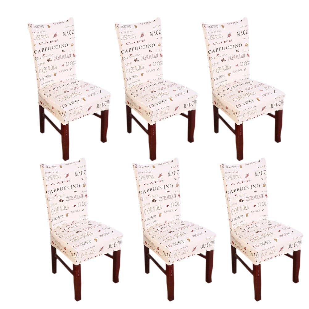 Inroy Stretch Stuhlhussen Stretch-Stuhlbezug Elastische Husse Dekoration Stuhl Husse aus Elastik-Stoff für universelle Passform (Packung mit 4 Stück, A)