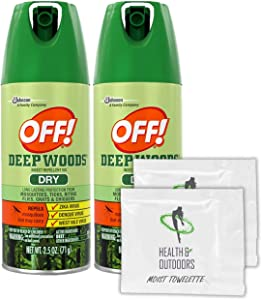 Off! Deep Woods Dry Insect Repellent, 2.5 Ounce Aerosol (2 Count) + Bonus Wipes