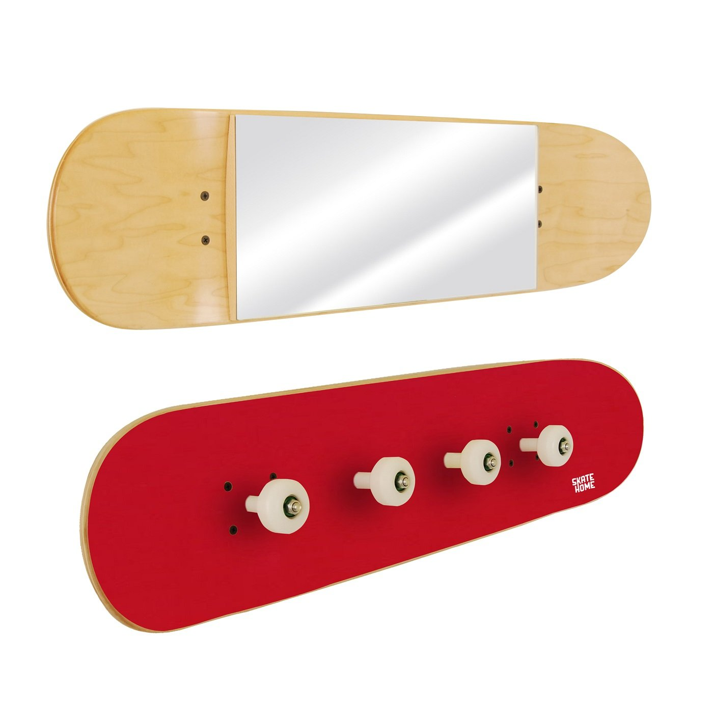 Set kids furniture with skateboard decks: Mirror and Coat Rack - Special gift for skateboarders - Red