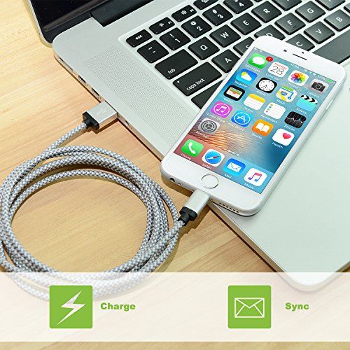 Eashion iPhone Cable, 3Pack 10FT Nylon Braided 8 Pin Lightning to USB Charger Cable, Compatible ...