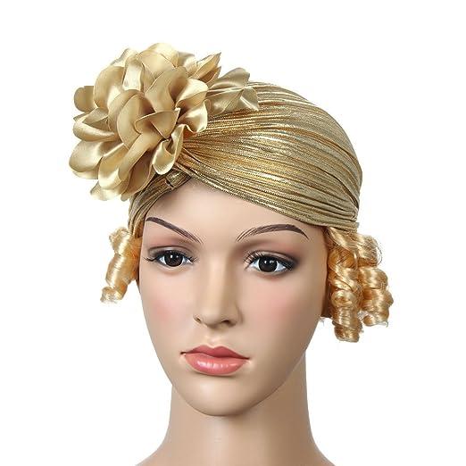 Muslim Headwear Women Flower Glitter Stretch Beanie Head Scarf wrap Chemo  Cap (Gold) 1e7bca4f630