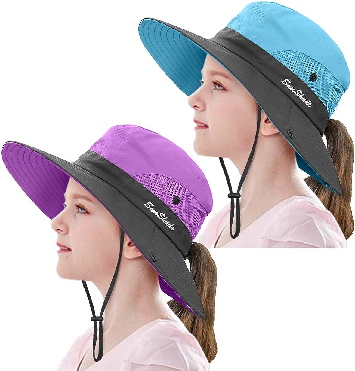 2 Pieces 5-14Y Kids Summer Sun Hat Wide Brim UV...