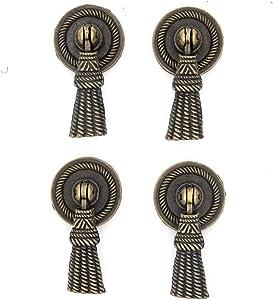 4 PCs Vintage Tassel Pendant Pulls - Antique Brass Pulls Knob Handles - for Cabinet Cupboard Dresser Wardrobe - Length 2-3/64-in (52 mm)