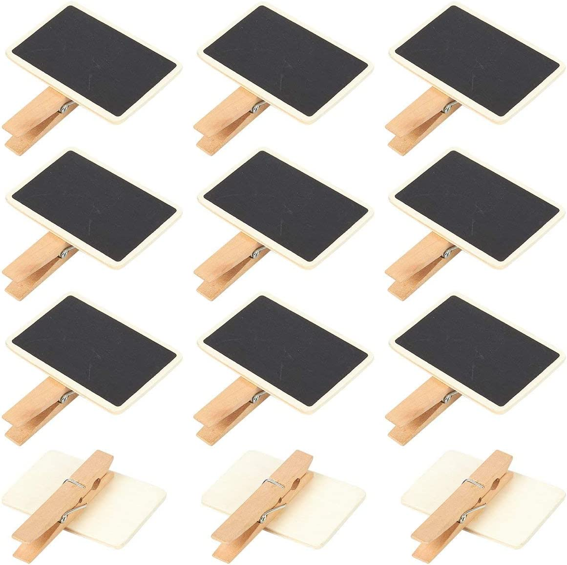 Chalkboard Signs with Mini Wooden Clothespins (2.6 x 2.3 x 0.5 in, 12-Pack)