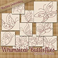 Whimsical Butterflies Redwork Embroidery Machine Butterfly Designs on CD - Multiformat