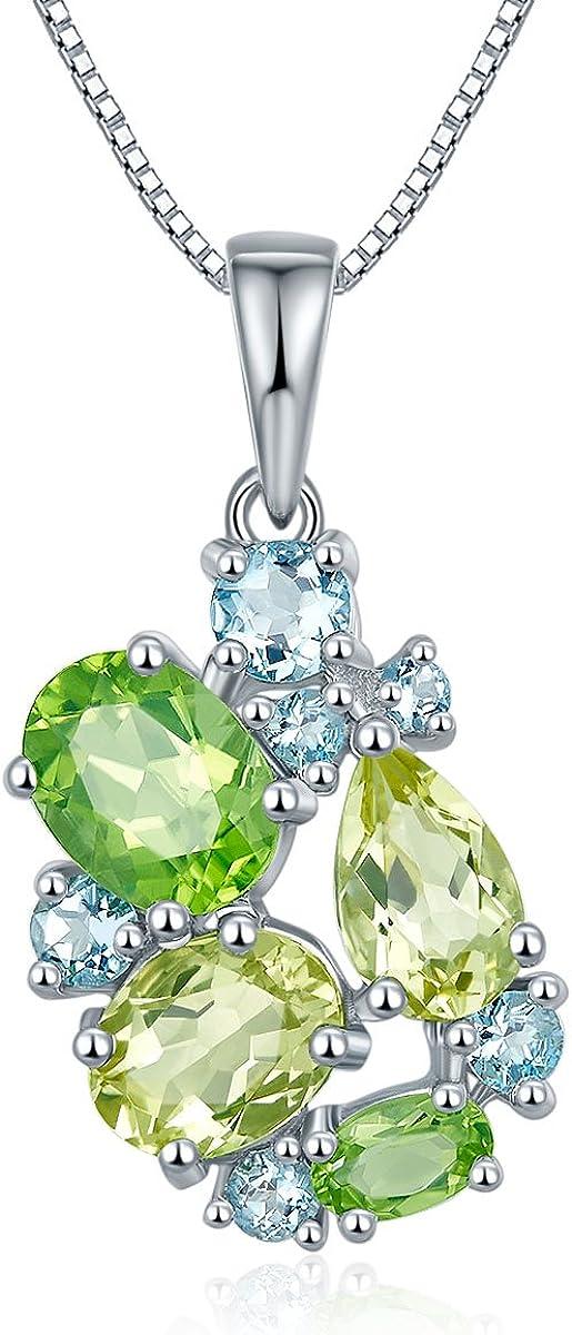 Hutang Jewelry–Pendientes de plata de ley 925Peridot, aguamarina y limón cuarzo muti-color piedras preciosas colgante collar, 18