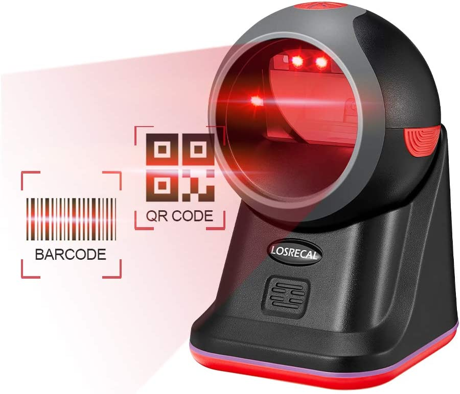 LOSRECAL Barcode Scanner 1D QR 2D Hands-Free Omnidirectional Desktop High Speed Laser Bar Code Reader Auto Sensor Scanner with Stand and USB Cable for Supermarket Retail Store Mall Grocery