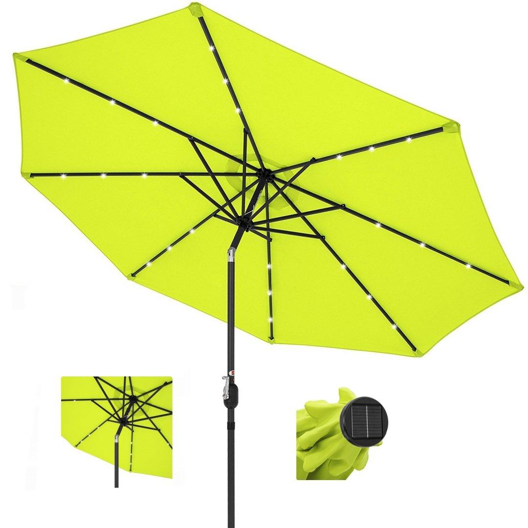10ft Outdoor Patio Aluminium Umbrella Sunshade UV Blocking Pre-installed Solar Power LED w/Hand-Crank and Tilt System - Light Green #1901