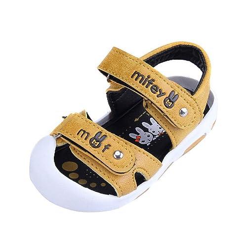 03e6653790232 Evedaily Bébé Garçon Fille Sandales Bout Fermé Chaussures Été PU Cuir  Velcro Semelle Antidérapante -Jaune
