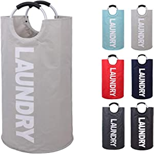 EASYCEL Laundry Basket, 82L Large Collapsible Fabric Waterproof Laundry Hamper Bag, Foldable Clothes Storage Washing Bag, Folding Washing Bin(Grey)