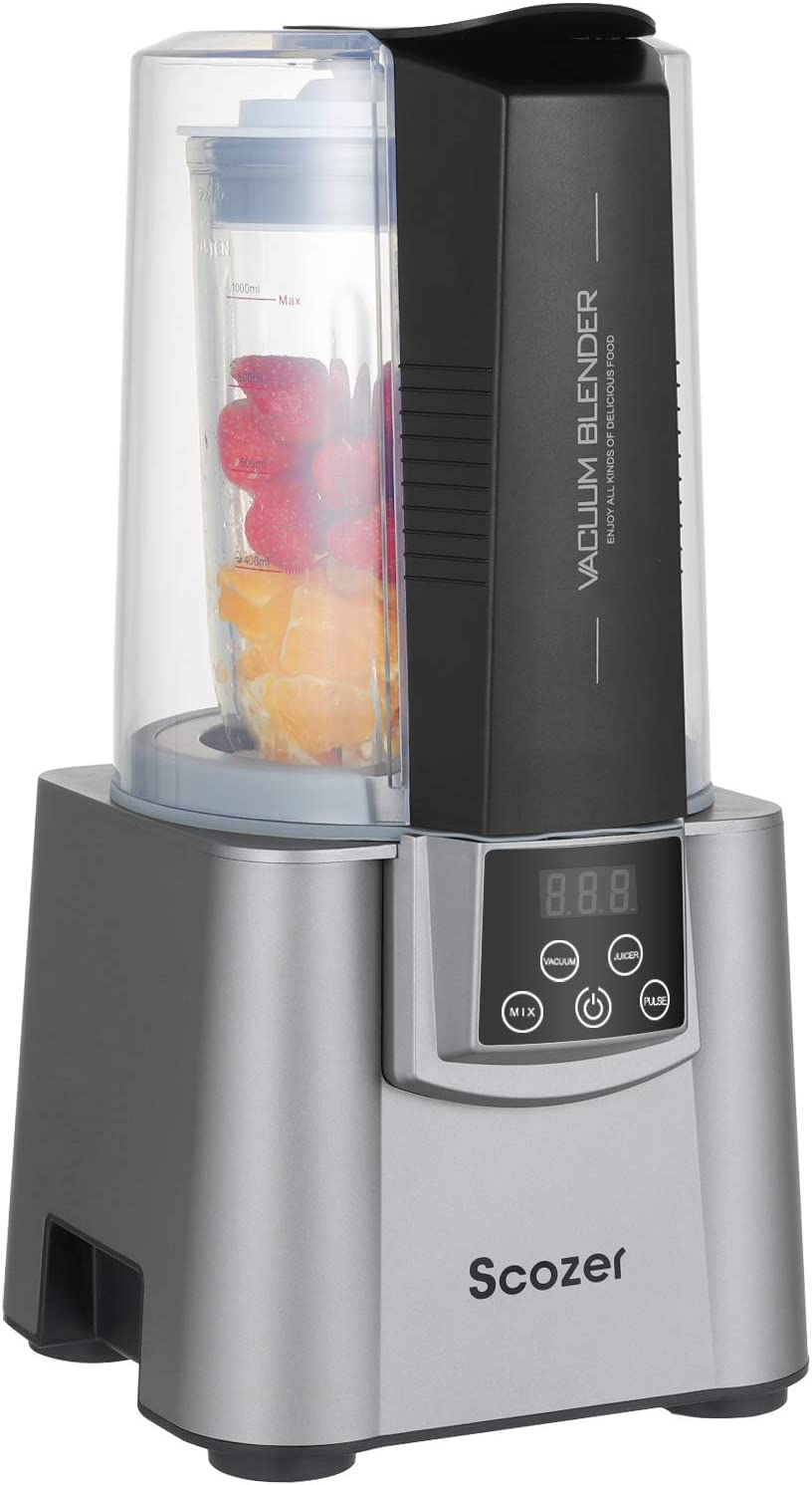 Vacuum Blender, Scozer Countertop Kitchen Blender, BPA Free Quiet Blender, Virtually No Foam, 500W Professional Countertop Blender, 21000RMP High Speed Kitchen Smoothie Maker