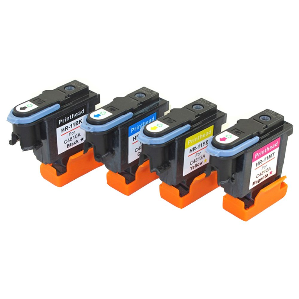 YATUNINK Full Color Set 4 Pack #11 Print Head Replacement (1Black+1Cyan+1Magenta+1Yellow) 11 Printhead C4810A C4811A C4812A C4813A