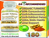 Cheap ORGANIC Tumeric Curcumin 3000 mg 180 Veg Capsules 95% Curcuminoids, Support Cardiovascular, Healthy Joints, Pain Supplement w Bioperine Piperine Black Pepper Extract Non Gmo Pills Advanced Absorption
