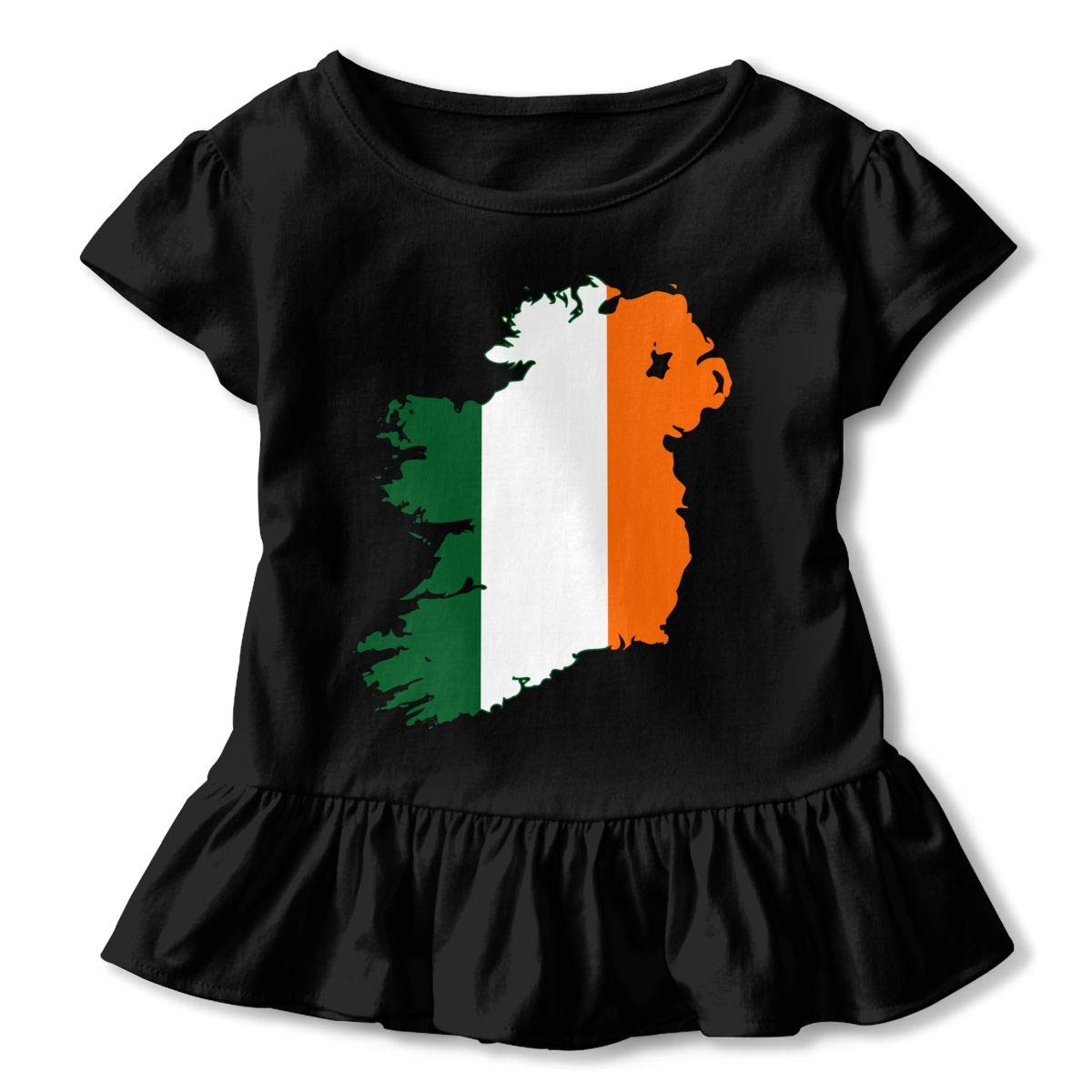 Flag Map of United Ireland Kids Girls Short Sleeve T-Shirts Ruffles Shirt T-Shirt for 2-6T