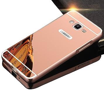 Sunroyal® Premium Funda Para Samsung Galaxy Grand Prime G530 G530H G5308 Bumper Case del Metal Aluminio PC Ultrafina Espejo Efecto [Fusion Mirror] ...