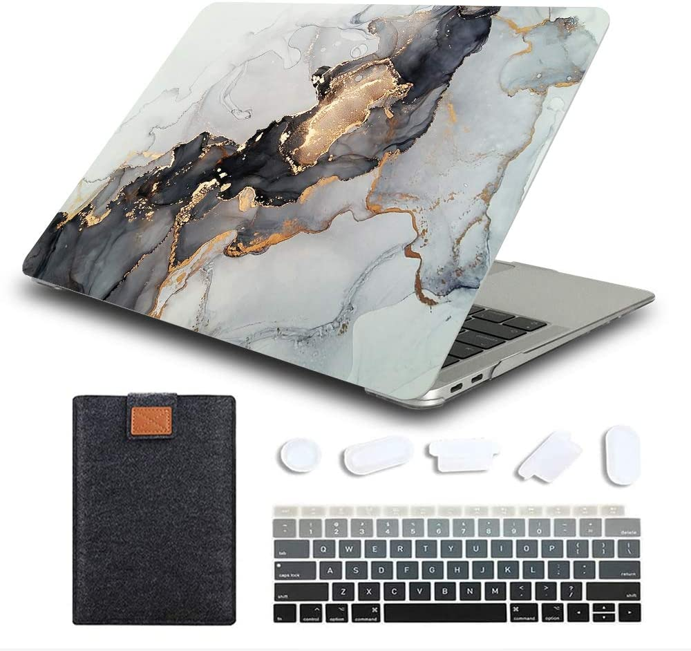 MAITTAO MacBook Air 13 Inch Case 2020 2019 2018 Release Model A1932 A2179 A2337 M1, Durable Hard Case Cover with Laptop Sleeve & Keyboard Cover for Mac Air 13.3 with Retina Touch ID, Marble 8