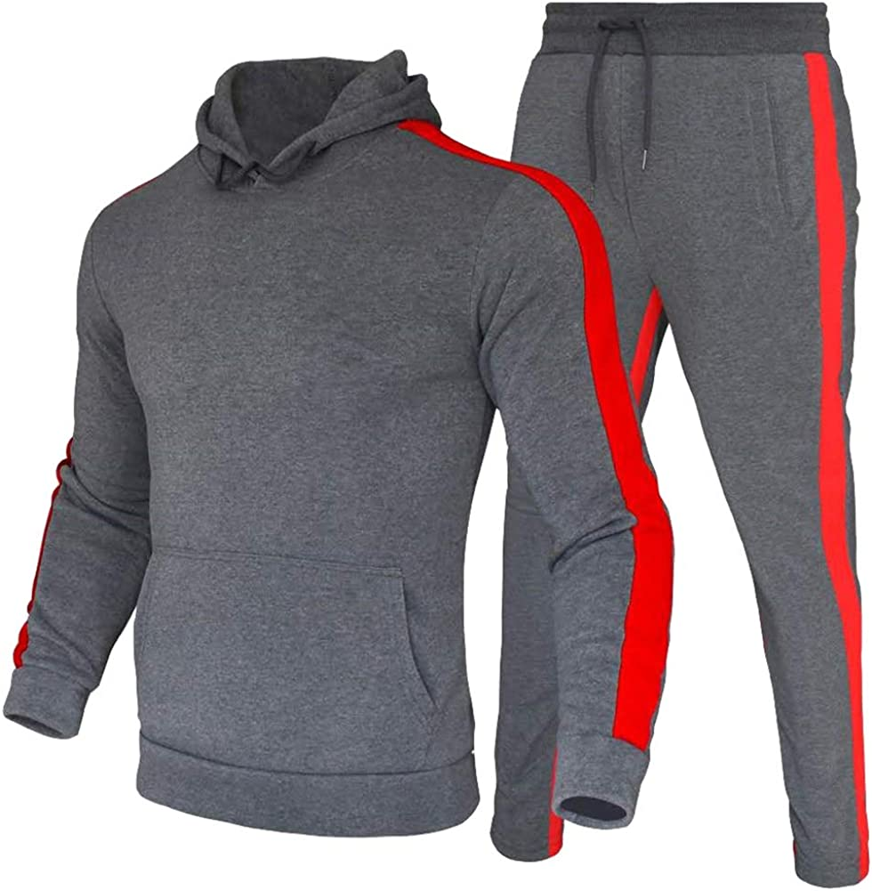 amropi Mens Tracksuit Hoodie Sweatshirt Tops and Long Pants Set Casual Sports Outfits