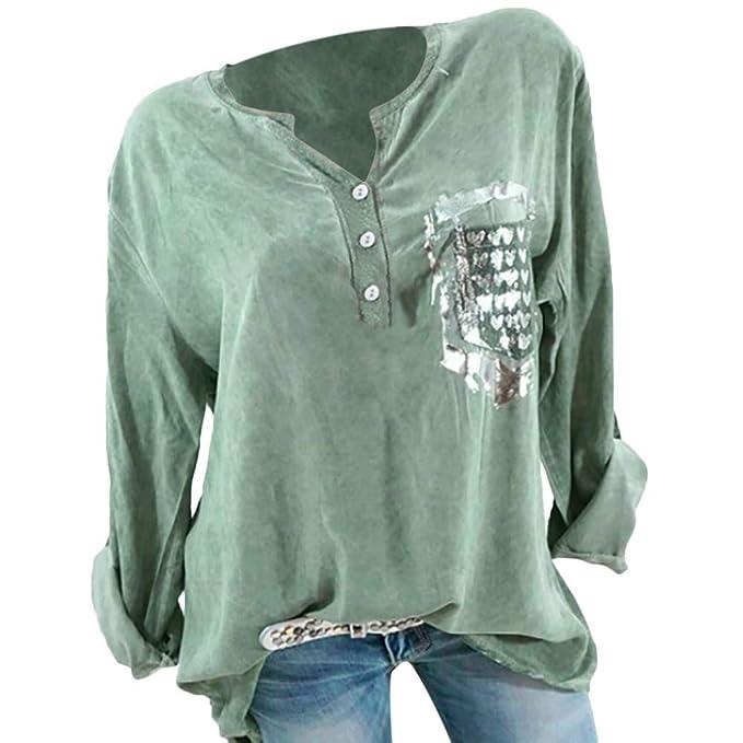 Riou Damen Bluse Pulli Sweatshirt Pullover Elegante Blusen Oberteil  Langarmshirt, Mode Frauen Herbst Mode Langarm Tasche gedruckt Bluse Tops T- Shirt  ... 8ebf590547