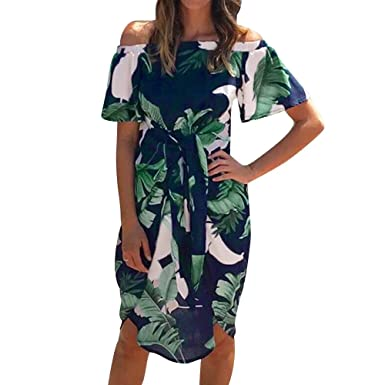 3a32faa7b7 Pitauce Off Shoulder Dresses for Women Tropical Palm Leaves Print Bell  Sleeve Ruffle Casual Beach Sundresses