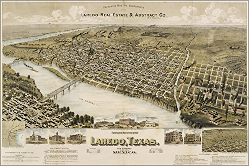 24x36 Poster; Perspective Map Of The City Of Laredo, Texas - In Texas Stores Laredo