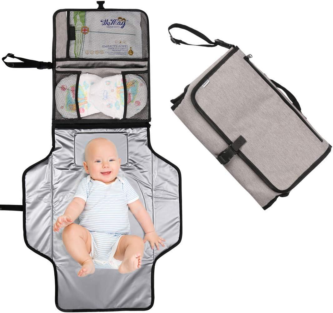 Cambiador Portátil de Pañales para Bebé, Hommie 2 EN 1 Plegable Cambiador de Pañales Impermeable, Esterilla Lavable de Quita y Pon, Kit Cambiador Bebé de Viaje,Ideal para Usar Fuera y en la Casa, Gris