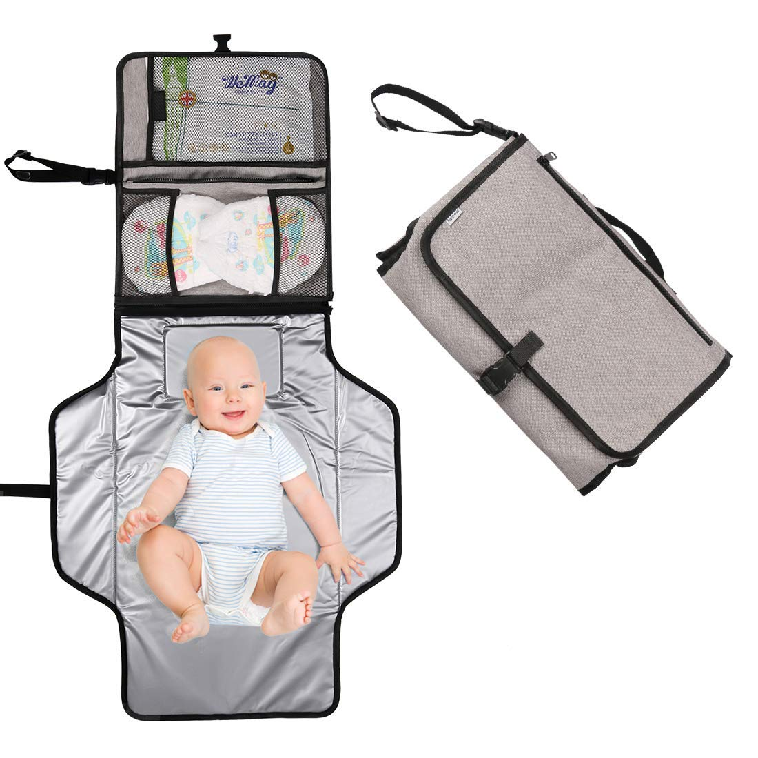 Hommie Baby Portable Nappy Changing Mat, Waterproof Foldable Infant Urinal Pad Baby Changing Kit with with Head Cushion Net Pockets for Home Travel