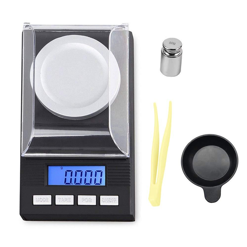 Forepin Bilancia Digitale Milligrammi 50 X 0.001g, Mini bilancia elettronica digitale tascabile Con Calibrazione Del Peso, Pinzetta E Base Di Pesatura (Batteria non inclusa)