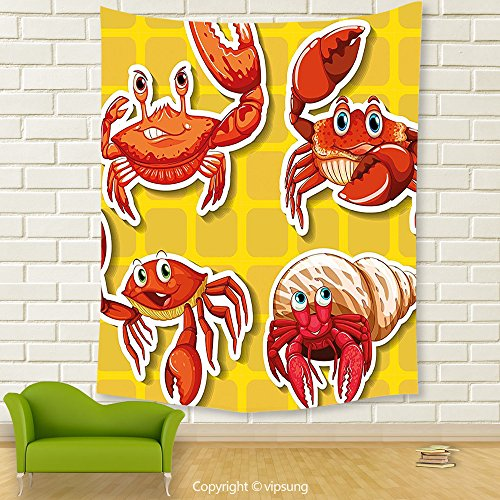 Vipsung House Decor Tapestry_Crabs Decor Stickers Of Four Different Crabs Ilustration Cartoon Style Print Earth Yellow And Orange_Wall Hanging For Bedroom Living Room Dorm