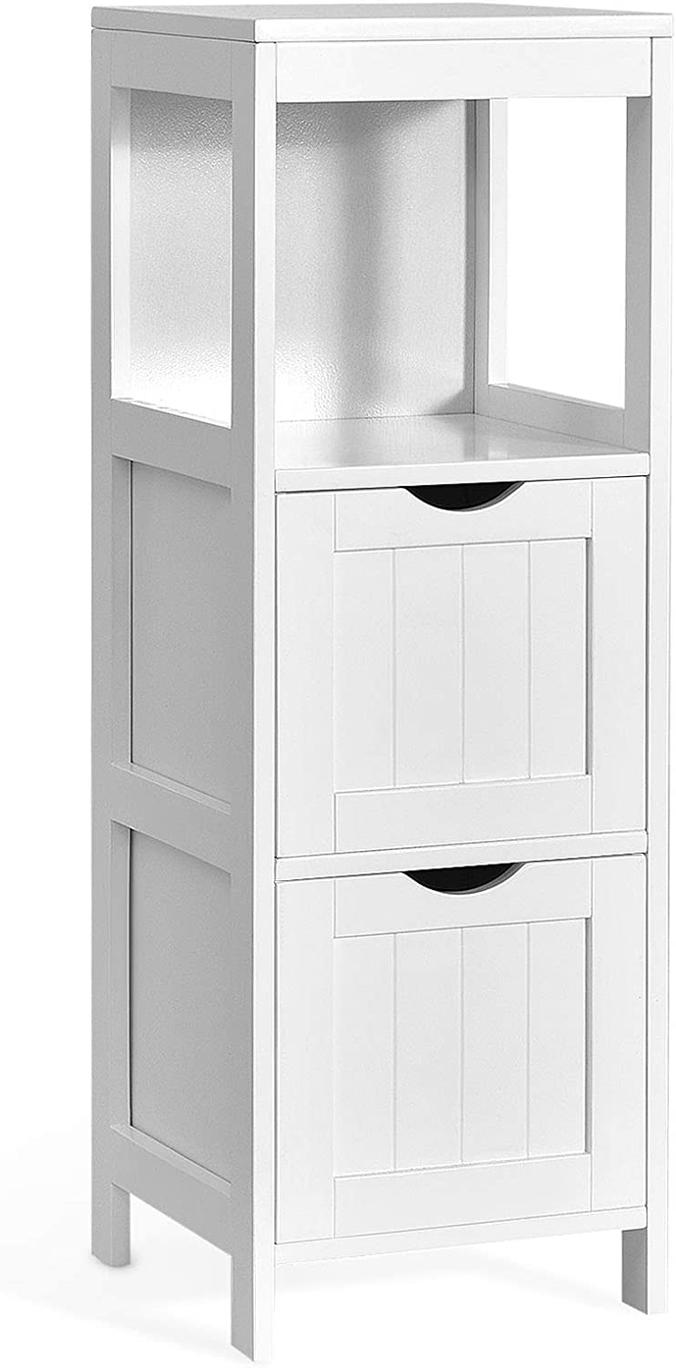 Tangkula Bathroom Floor Cabinet, Multifunctional Storage Cabinet with 2 Removable Drawers & Open Shelf, Tower Storage Cabinet with Anti-Tilt Design for Bathroom Living Room Bedroom (White)
