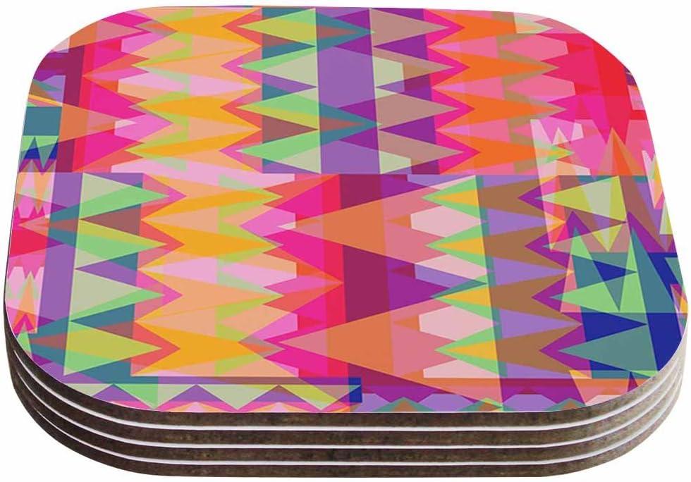 4 x 4 Set of 4 Multicolor KESS InHouse Miranda MOLTriangle Fun Pink Multicolor Coasters