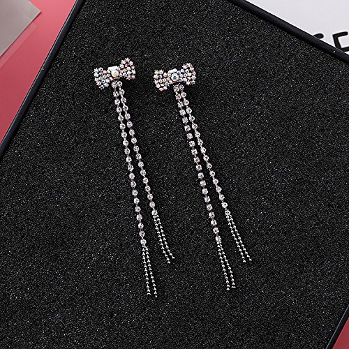 Bow 925 Sterling Silver Pin - South Korea 925 sterling silver pin crystal diamond bow earrings hanging long section of the tassel chain ear line after simple wild