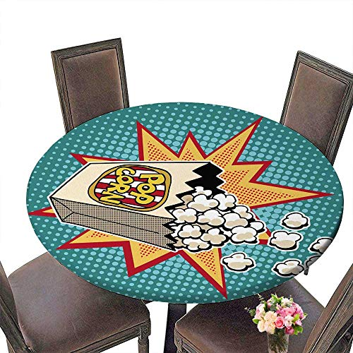 PINAFORE Round Tablecloth Popcorn Sweet and Savory Corn pop Retro styleHealthy and Unhealthy Foods Childhood and Entertain for Kitchen 47.5