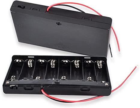 6in Wire Leads 12V Battery Holder Case Box for 8 AA
