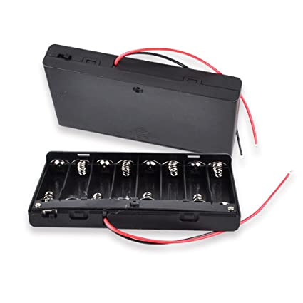 half off 372fb f4847 12V AA Battery Pack with Leads, 8 x 1.5v AA Battery Case Holder,  FolioGadgets Battery Storage Box with ON/OFF Switch 6inch Bare Wire Leads  [4-Pack]