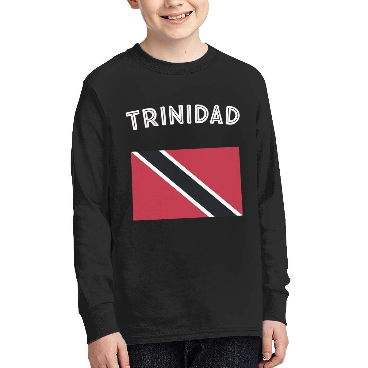 Teenagers Teen Boy Trinidad Flag Printed Long Sleeve 100/% Cotton T-Shirts