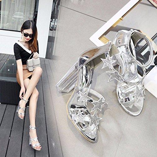 Primavera Crystal Gtvernh Impermeabile Tacchi l'esercitazione Cintura Tallone Pesante Piattaforma A 11cm 39 Black Stella Spillo Sandali RznRrSv