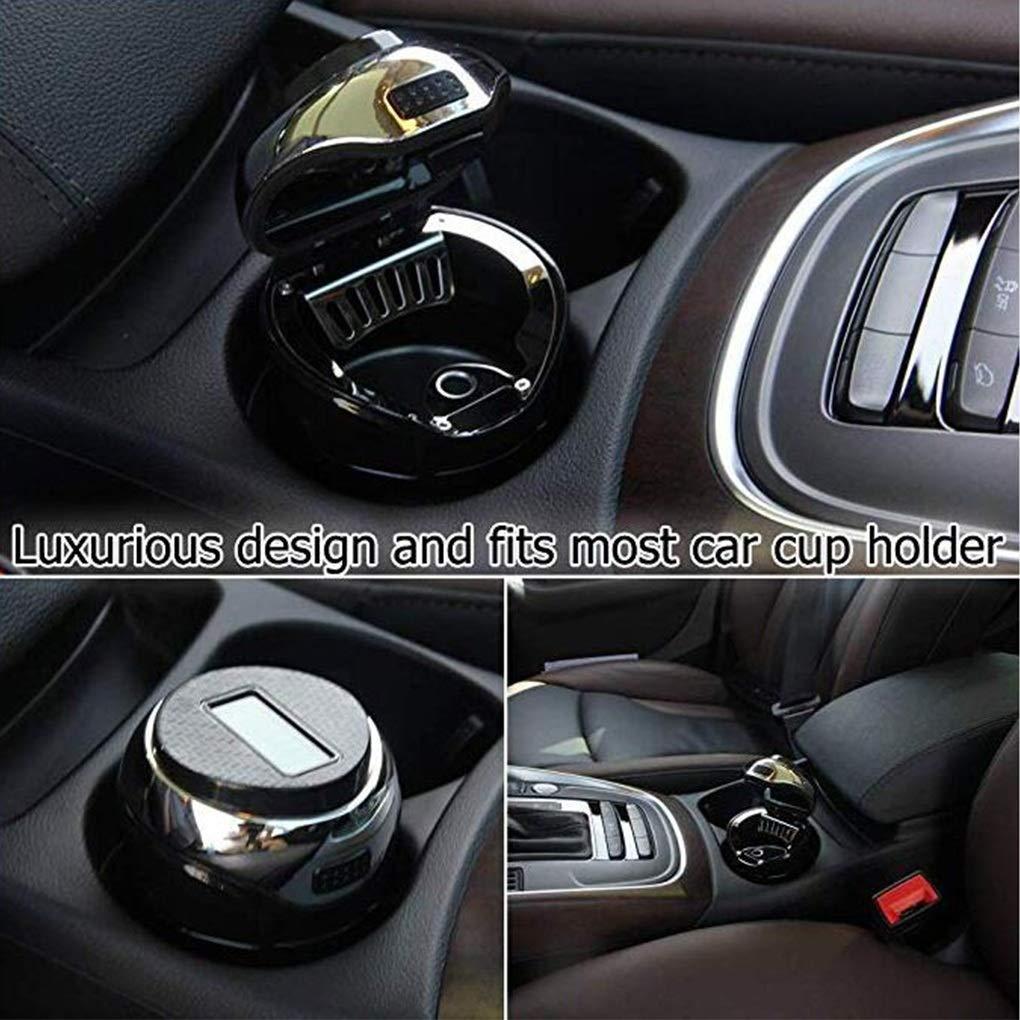 abnehmbarer Volvo-Spezial-Edelstahl mit abdeckbaren blauen LED-Leuchten und abnehmbarer USB-Aufladung f/ür die meisten Auto-Getr/änkehalter mit Auto-Logo Schauen Sie gena Car ashtray Auto-Aschenbecher