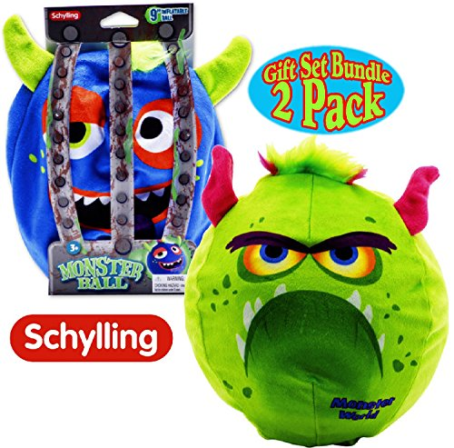 Schylling Inflatable Monster Balls (9'') Blue & Green Gift Set Bundle - 2 Pack (Ships Deflated) by Schylling