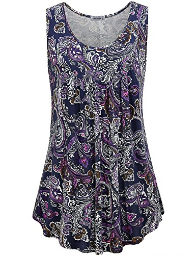 MOQIVGI Bohemian Tops for Women,Ladies Designer Loose A-line Feminine Swing Tank Shirt Sleeveless Round Neck Cute Flowy Dressy Tunic Daily Wear Vintage Paisley Blouses Multicoloured Purple - Paisley Blouse Vintage