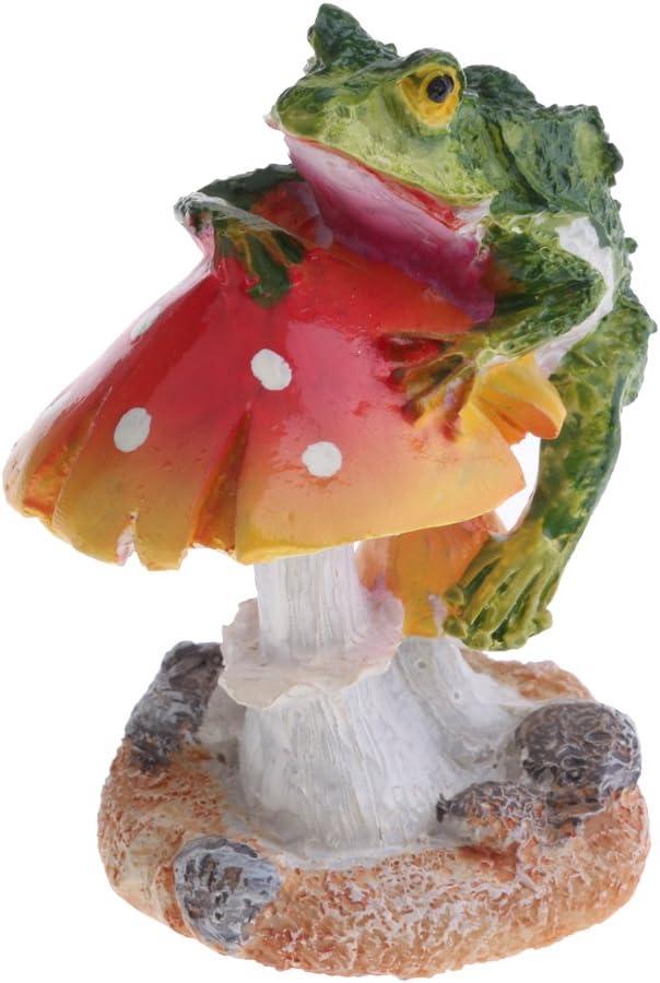 Resin Ornament Red Mushroom Butterfly Moss Terrarium Plant Pot Desk Decor