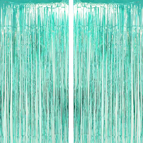 Aqua Blue Tinsel Foil Fringe Curtains Under The Sea Baby Shower Birthday Photo Backdrops Wedding Happy New Years Christmas Party Decor Photo Booth Props Backdrops Decorations -
