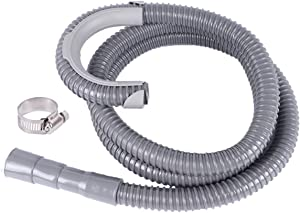 ALXEH Universal 8 Feet Washing Machine Drain Hose, Heavy Duty Washer Discharge Hose Extension kit, Corrugated Flexible Design - Fits Up to 1 1/4 Inch Drain Outlet