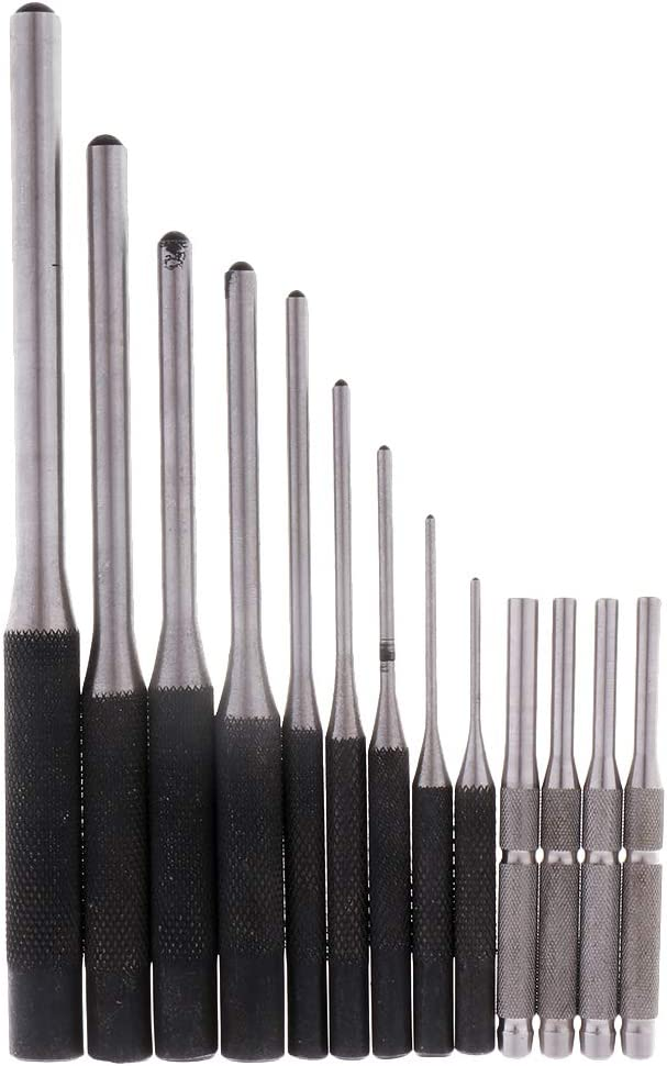 14 Pieces Professional 40CR Steel Roll Pin Punch Stainless Steel Starter Punch Tools Set for Removing Pins