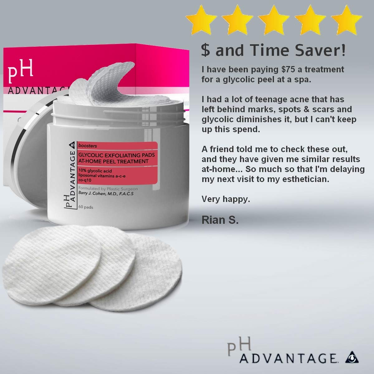 Amazon Com Glycolic Acid Peel Pads Anti Aging Aha Facial Scrub