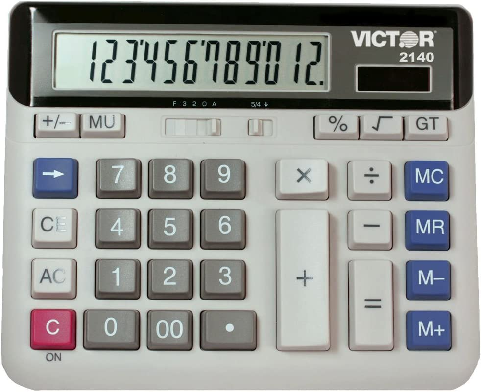 Victor 2140 12-Digit Standard Function Desk Calculator, Large Keys, Battery and Solar Hybrid Powered LCD Angled Display, Great for use in The Home and Office