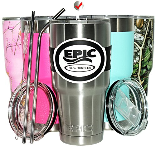 Insulated Travel Tumbler Coffee Mug - Stainless Steel Cup with Straws - compare to Yeti with 2 Lids - 2 Stainless Steel Straws and Brush, 30 oz Silver, by EPIC